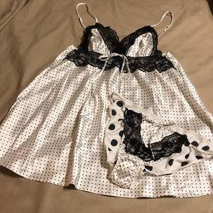 Victoria's Secret black and white polka dot set!